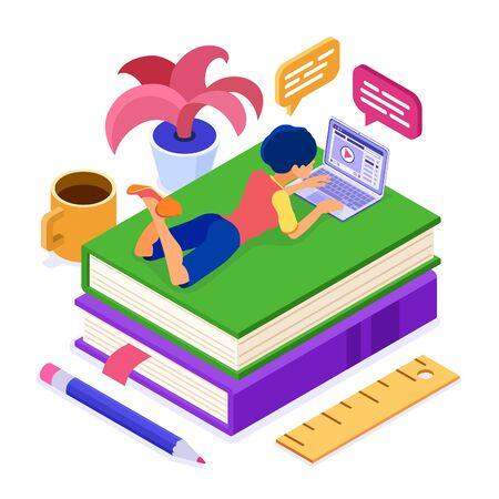 Online onderwijscursussen of afstandsexamen met isometrisch karakter internetcursus e-learning vanuit huis meisje online studeren op boek en laptop isometrische onderwijsconcept geïsoleerde vectorillustratie