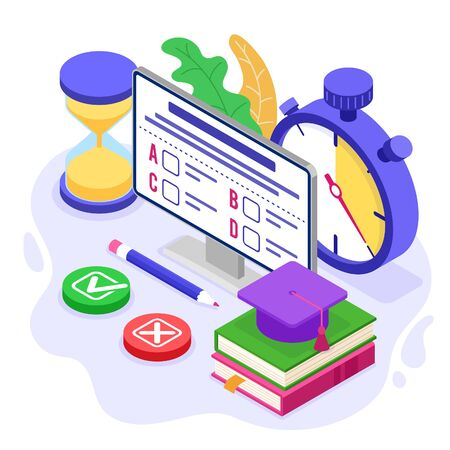 Online education or distance exam test with isometric icon internet course e-learning from home examing and test on computer with stopwatch isometric education vector illustration