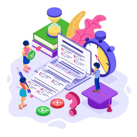 Online education or distance exam test with isometric character internet course e-learning from home girl and boy examing and test on laptop with stopwatch isometric education vector illustration  イラスト・ベクター素材