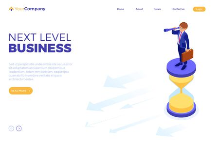 business success. isometric businessman stands on hourglass and looks through spyglass for new opportunities. time management, vision, planning, future trends, new horizons to your business. vector
