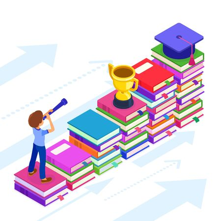 education or business success. isometric student or businessman standing on books and looking through telescope new opportunities learning graduate goals achievements. education power, new horizons