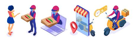 secure online food order and package delivery service food shipping isometric courier in mask pandemic quarantine protection covid-19 with pizza and scooter girl receives order isometric vector