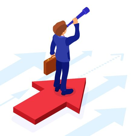 business success. isometric businessman stands on arrow and looks through spyglass for new opportunities. startup, leadership concept. vision, planning, future trends, new horizons to your business 向量圖像