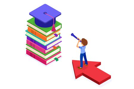 education or business success. isometric student standing on arrow and looking through telescope on books new opportunities learning graduate goals achievements. education power. new horizons