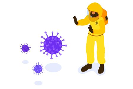 Covid-19 Coronavirus. Doctor in chemical protective clothing coverall and gas masks stop coronavirus. quarantine from pandemic covid-19 outbreak. isolated isometric vector illustration Illustration