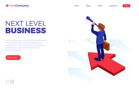 business success. isometric businessman stands on arrow and looks through spyglass for new opportunities. startup, leadership concept. vision, planning, future trends, new horizons to your business Stock Illustratie