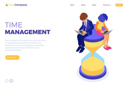 time management planning schedule from home with business man and woman work on laptop and sit on hourglass. landing page. deadline time. isometric infographics business isolated vector illustration