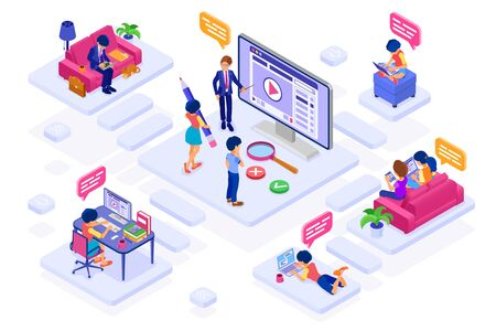 online collaboration education or distance exam or work from home technology. isometric character internet course e-learning from home. learning on tablet and laptop with teacher isolated vector