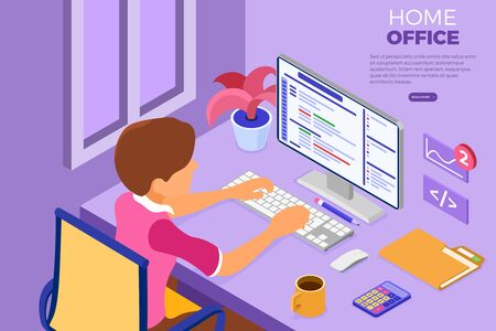 Software engineer developing program. Man sits at computer table and programs in Home Office. Developer creating program. Banner with isometric character. Vector illustration 向量圖像