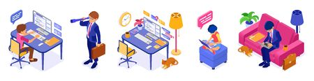 Working remotely from home. Businessman, programmer, woman sits at sofa, at computer table and working on computer at home. Quarantine covid-19 coronavirus. Isometric isolated vector illustration 向量圖像