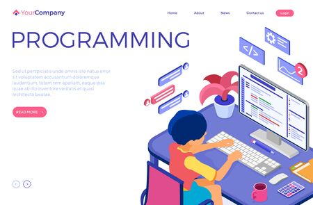 Software engineer developing program. Woman sits at computer table and programs. Developer creating program for online chat website. Landing page with isometric character. Isolated vector illustration