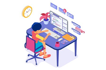 Software engineer developing program. Woman sits at computer table and programs. Developer creating program for online chat website. Banner with isometric characters. Isolated vector illustration 向量圖像
