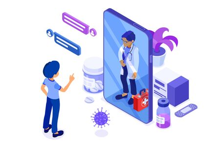 Isometric online medical diagnostics and doctors workplace. Doctor advises patient online about virus with Smartphone. Isolated vector illustration