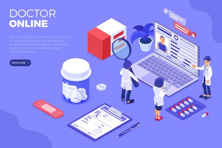 Isometric online medical diagnostics and doctors workplace. Isometric icons laptop, x-ray, patient medical record. Prescriptions online. Isolated vector illustration
