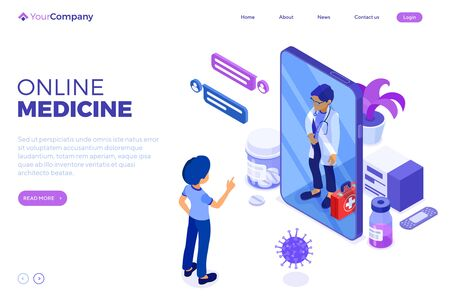 Isometric online medical diagnostics and doctors workplace. Doctor advises patient online about virus with Smartphone. Landing page template. Isolated vector illustration