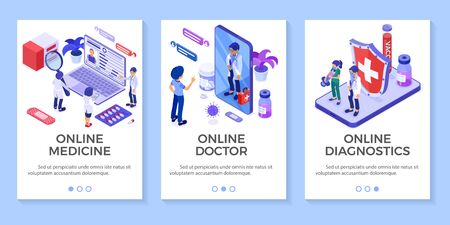 Isometric online medical diagnostics and doctors workplace banners. Doctors advises patient online about virus with Smartphone and Laptop. Isolated vector illustration