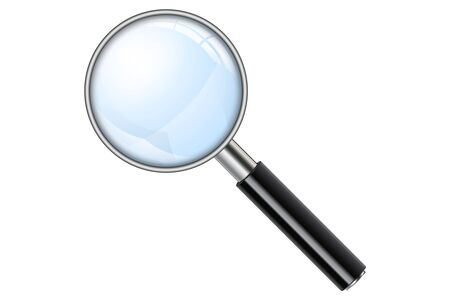 3D Realistic Magnifying Glass, Loupe, Magnify on white background. Isolated vector illustration.