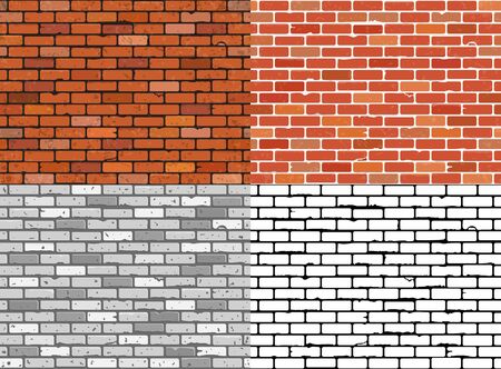 Set seamless grunge brick wall textures. Realistic, gray, black and white brick wall backgrounds. Patterns for design. Vector illustration