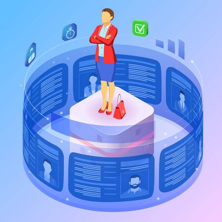 Isometric job agency. Employment, human resources, resume and hiring concept. Resume applicants for vacancies on flexible transparent screen. Female candidate on futuristic stand. Vector illustration