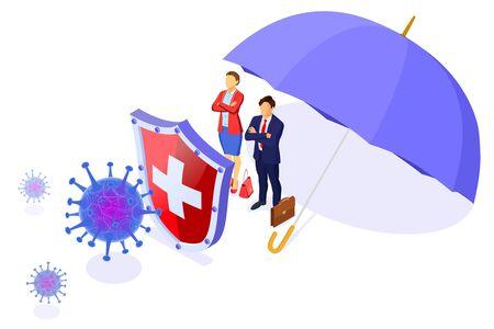 Covid-19 virus strain with shield and umbrella protect business man and woman. Quarantine from novel coronavirus. Pandemic covid-19 coronavirus outbreak. Isometric isolated vector illustration