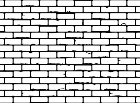 Seamless grunge brick wall texture. Realistic black and white brickwall background. Pattern for design. Vector illustration Ilustración de vector