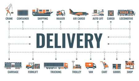 Delivery, shipping and logistics horizontal banner with two color flat icons air cargo, trucking, ship, railroad freight, shop. Typography concept. Isolated vector illustration