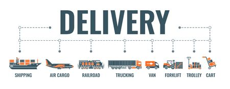 Delivery, shipping and logistics horizontal banner with two color flat icons air cargo, trucking, ship, railroad freight. Typography concept. Isolated vector illustration