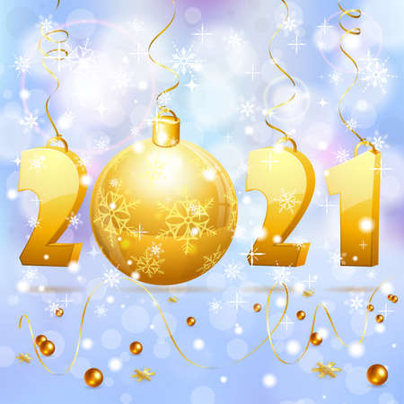 Christmas and New Year background with stylized 2021, snowflake, streamer and Bauble. Vector illustration Template for Cover, Flyer, Brochure, Greeting Card 向量圖像