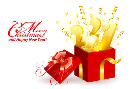 Merry Christmas and Happy New Year Greeting Card. 2021 numbers in Gift Box with streamer, bow and confetti. Isolated vector illustration