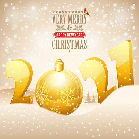 Christmas and New Year background with stylized 2021, snowflake, bullfinch and Bauble. Vector illustration Template for Flyer or Christmas Card.
