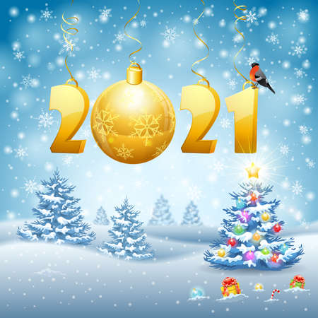 Christmas and New Year background with stylized 2021, snowflake, bullfinch and Bauble. Vector illustration Template for Cover, Flyer, Brochure, Christmas Card