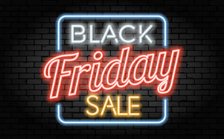 Black Friday Sale neon banner. Design signboard for black friday sale on brick wall texture. Glowing white, orange and red neon letters in frame. Realistic vector illustration