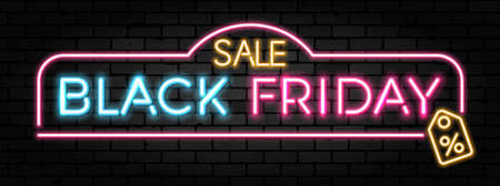 Black Friday Sale neon banner. Design signboard for black friday sale on brick wall texture. Realistic vector illustration.