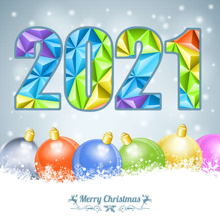 Merry Christmas and New Year Card with Triangle Number 2021, Deer and Bauble. Vector Template for Cover, Flyer, Brochure