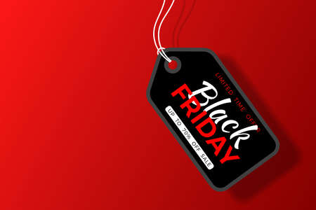 Black Friday Sale Poster with black tag and rope on red background. Design flier for black friday sale. 向量圖像