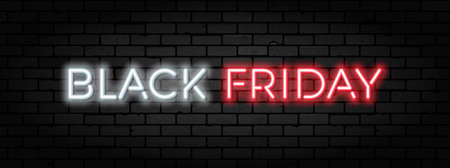 Black Friday Sale neon banner. Design signboard for black friday sale on brickwall texture. Glowing white and red neon letters. Realistic  illustration