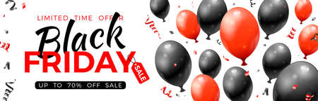 Black Friday Sale Banner with glossy red and black balloons, tag and confetti. Design for blackfriday sale. Realistic vector illustration on white background 向量圖像