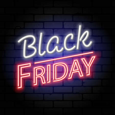 Black Friday Sale neon banner. Design signboard for blackfriday sale on brickwall texture. Glowing white and red neon letters. Realistic vector illustration.