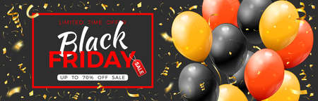 Black Friday Sale banner with glossy gold, red and black balloons, confetti and frame. Design for black friday sale. Realistic  illustration on black background 向量圖像