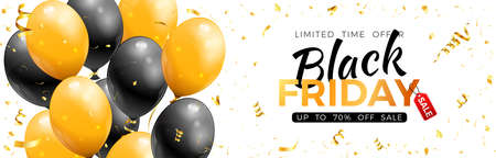 Black Friday Sale banner with glossy gold and black balloons, confetti and frame. Design for black friday sale. Realistic  illustration on white background 向量圖像
