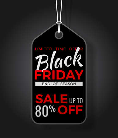 Black Friday Sale Poster with black tag and rope. Design flier for black friday sale.