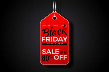 Black Friday Sale Poster with red tag and rope on black background. Design flier for black friday sale.