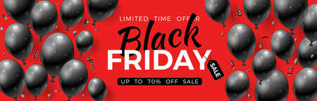 Black Friday Sale banner with glossy black balloons, tag and confetti. Design for black friday sale flier. Realistic  illustration on red background