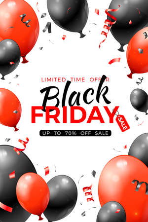 Black Friday Sale Poster with glossy red and black balloons and confetti. Design for black friday sale. Realistic  illustration on white background