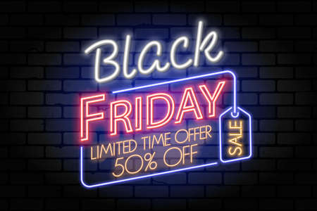 Black Friday Sale neon banner. Design signboard for black friday sale with tag on brickwall texture. Glowing white and red neon letters. Realistic  illustration. 向量圖像