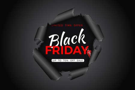Black Friday Sale Banner. Torn hole in paper with black friday tag. Design flier for blackfriday sale. Vector illustration