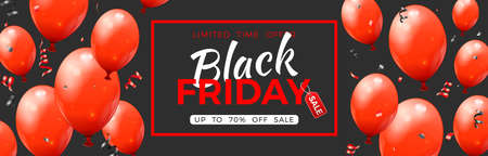 Black Friday Sale Banner with glossy red balloons, tag and confetti. Design for black friday sale. Realistic  illustration on black background 向量圖像