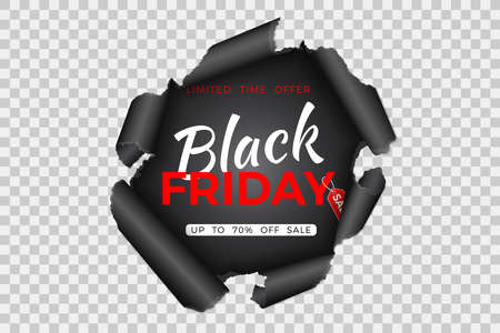 Black Friday Sale Banner. Torn hole in paper with black friday tag on transparent background. Design flier for blackfriday sale. Vector illustration