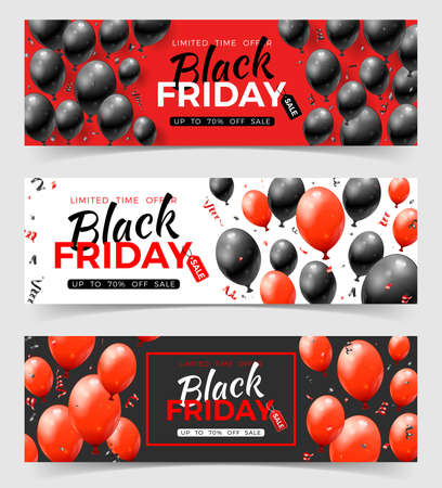 Bundle Black Friday Sale Horizontal Banner with glossy red and black balloons, tag and confetti. Design for blackfriday sale. Set of three realistic vector illustration 向量圖像