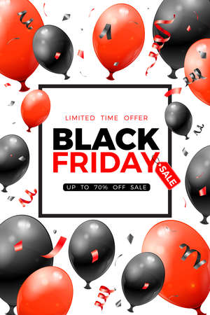 Black Friday Sale Poster with glossy red and black balloons, tag and confetti. Design for black friday sale flier. Realistic  illustration on white background 向量圖像